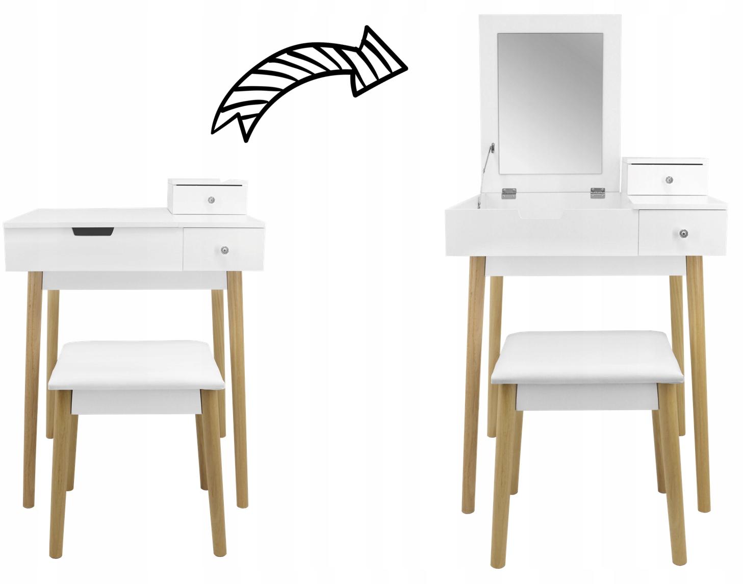 ТУАЛЕТ ДЛЯ МАКИЯЖА ЗЕРКАЛО БЕЛОЕ ДЕРЕВО + ТАРЕЛКА Глубина мебели 50,5 см.