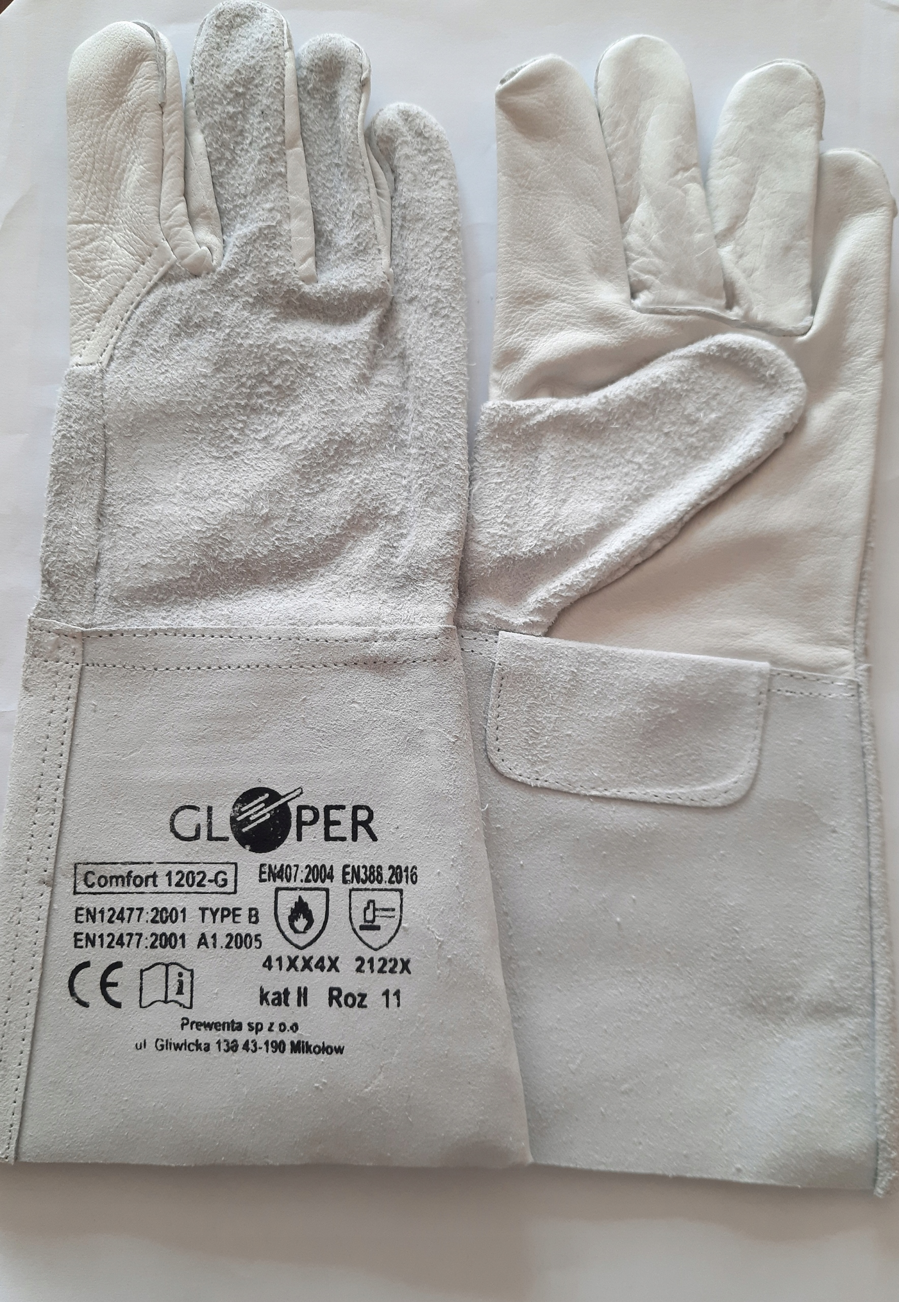 Сварочные перчатки Gloper 1202-G размер 11 xxl