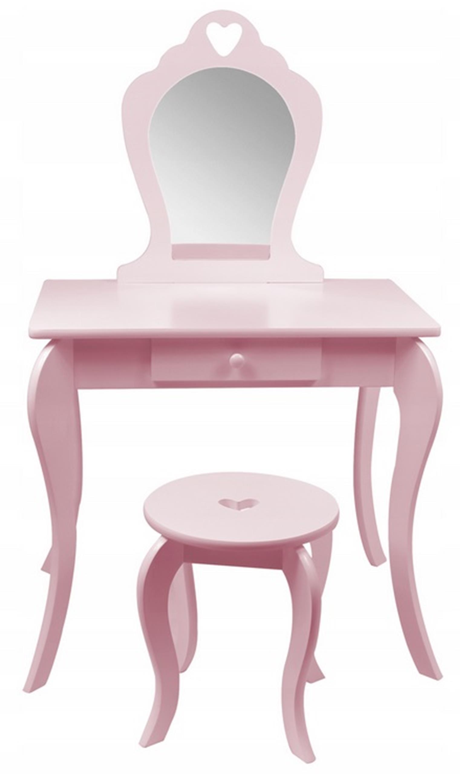 Туалетный столик ELZA розовый для девочек зеркальный стул