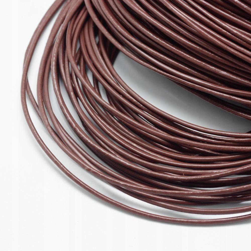 Rzemień skórzany,okrągły, 1m, brązowy 1,5mm