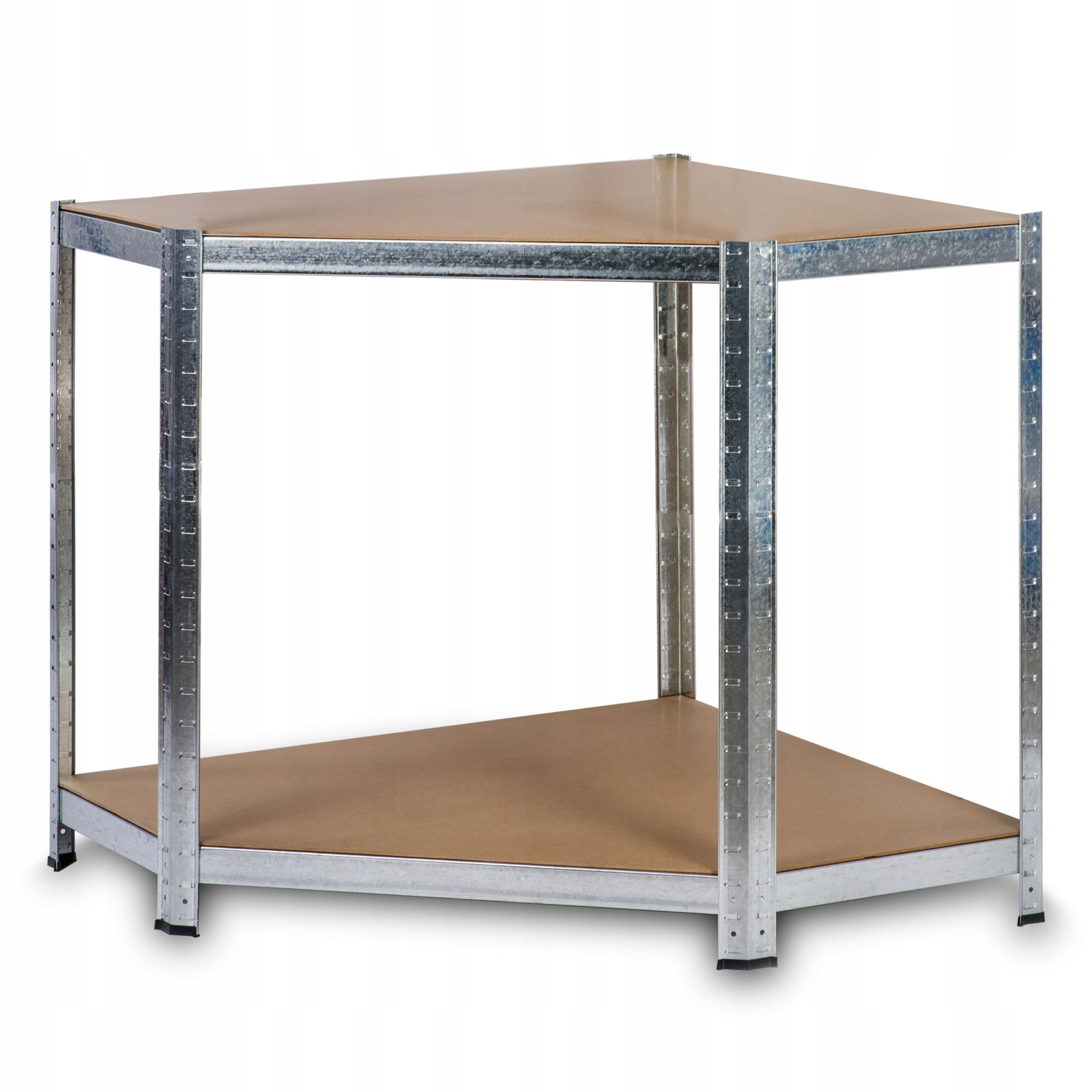 REGAŁ METALOWY MAGAZYNOWY NAROŻNY 180x90x40 875kg Materiał wykonania półki półka z płyty MDF