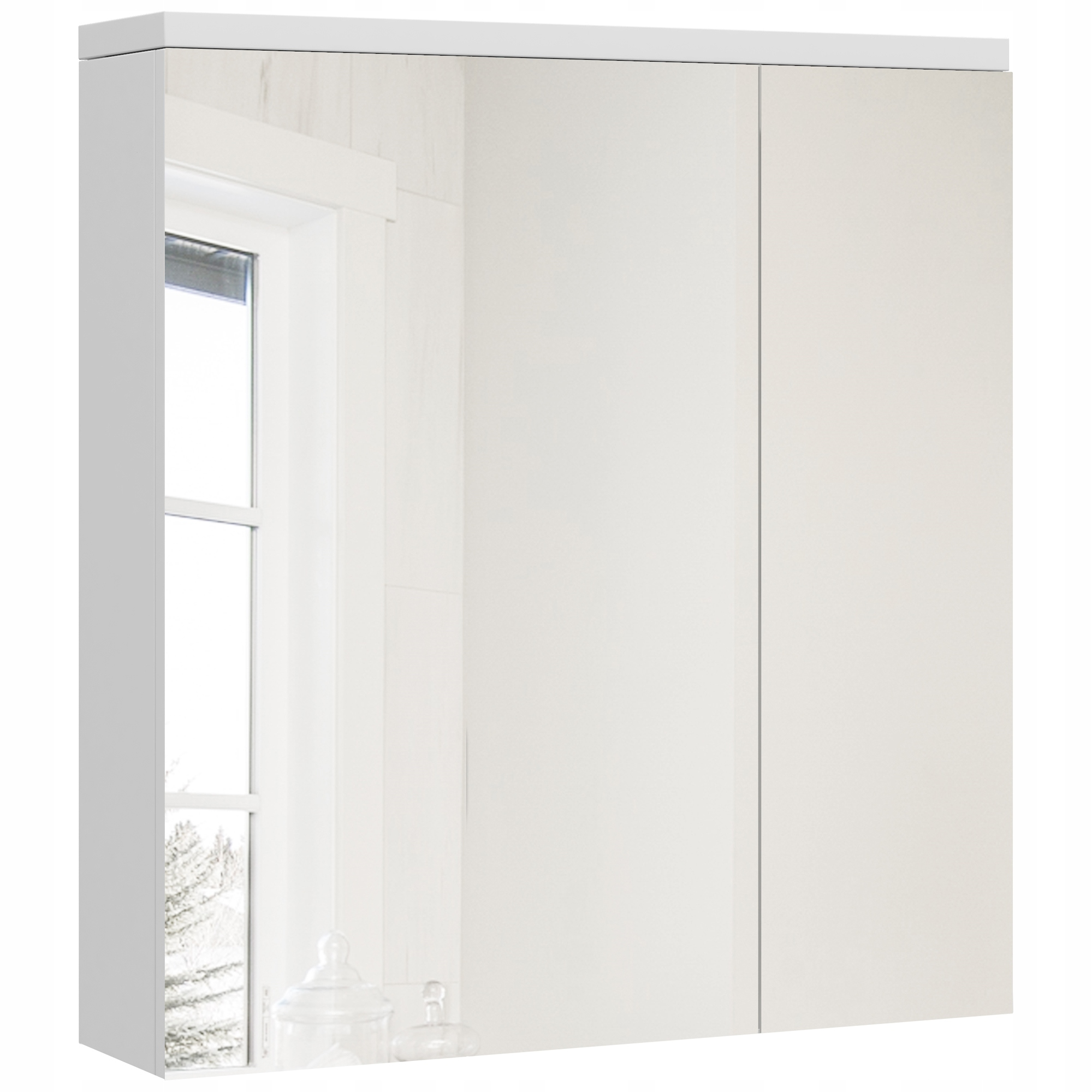 Szafka łazienkowa z lustrem biała 60 cm