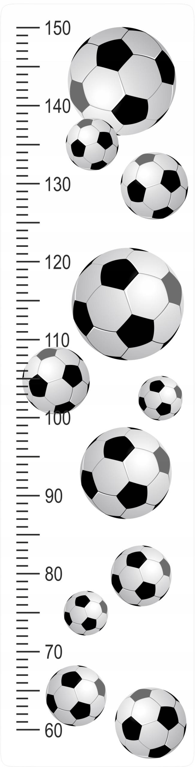 Мера высоты на наклейке на стену Мячи Футбол