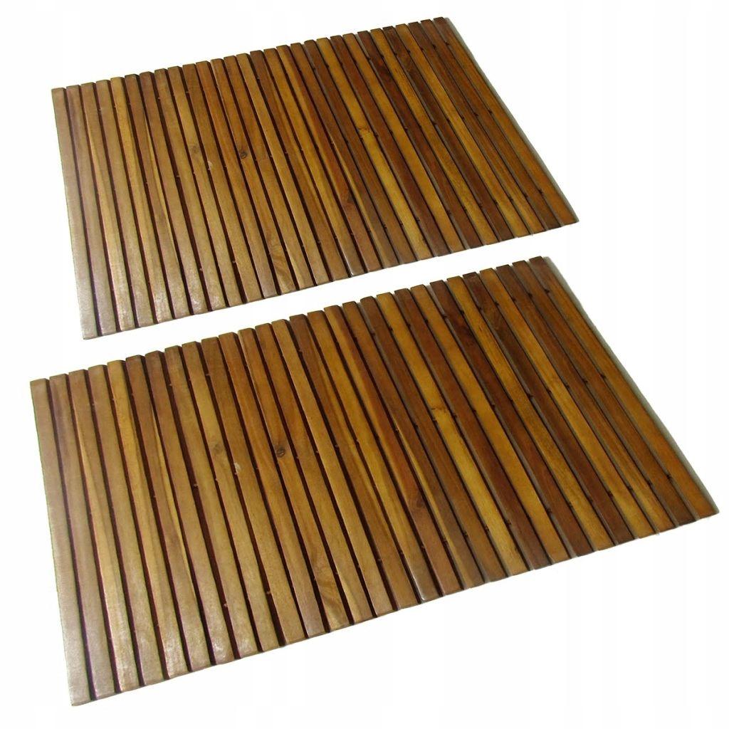 Sprchová rohož z agátového dreva, 2 ks 80x50 cm