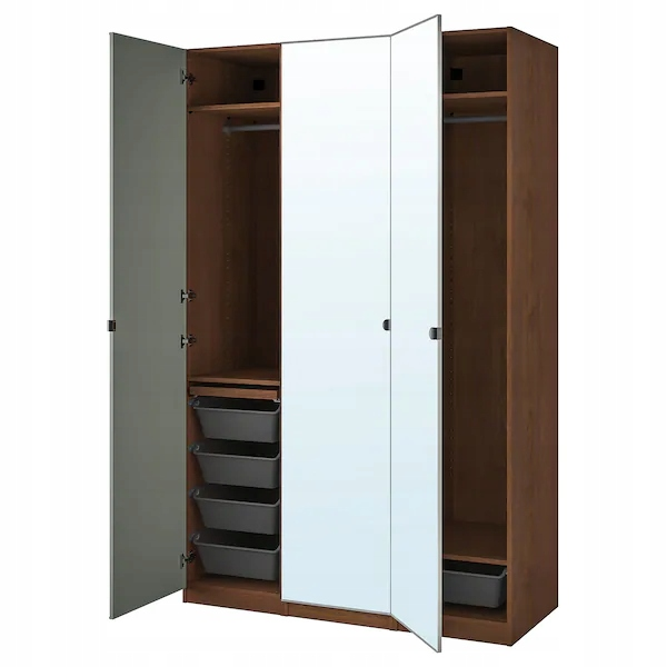 IKEA PAX / VIKEDAL skriňa, zrkadlo bronz 150x60x236 cm