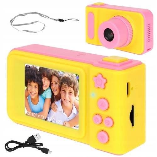Ružový detský digitálny fotoaparát