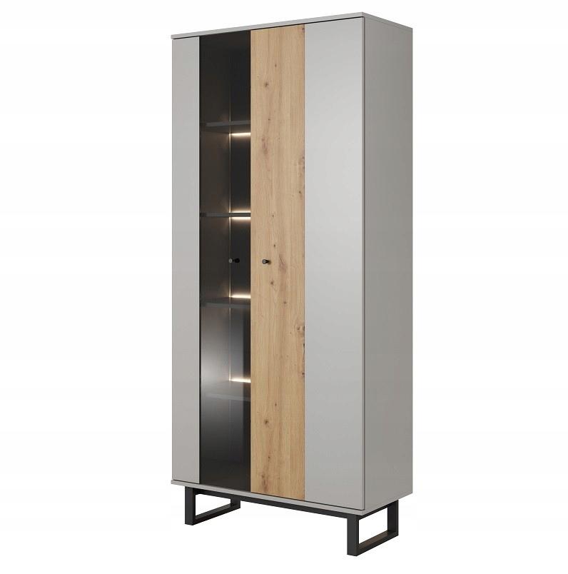 Высокий шкаф-витрина AVIO Platinum Grey 90 см
