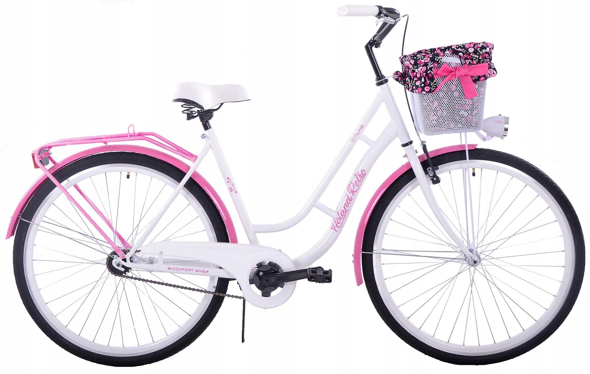 CITY BIKE 28 HOLANDSKO RETRO bielo-ružová + košík