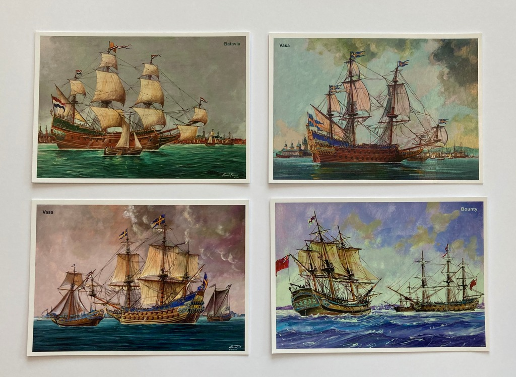 Żaglowce: Batavia, Vasa, Bounty