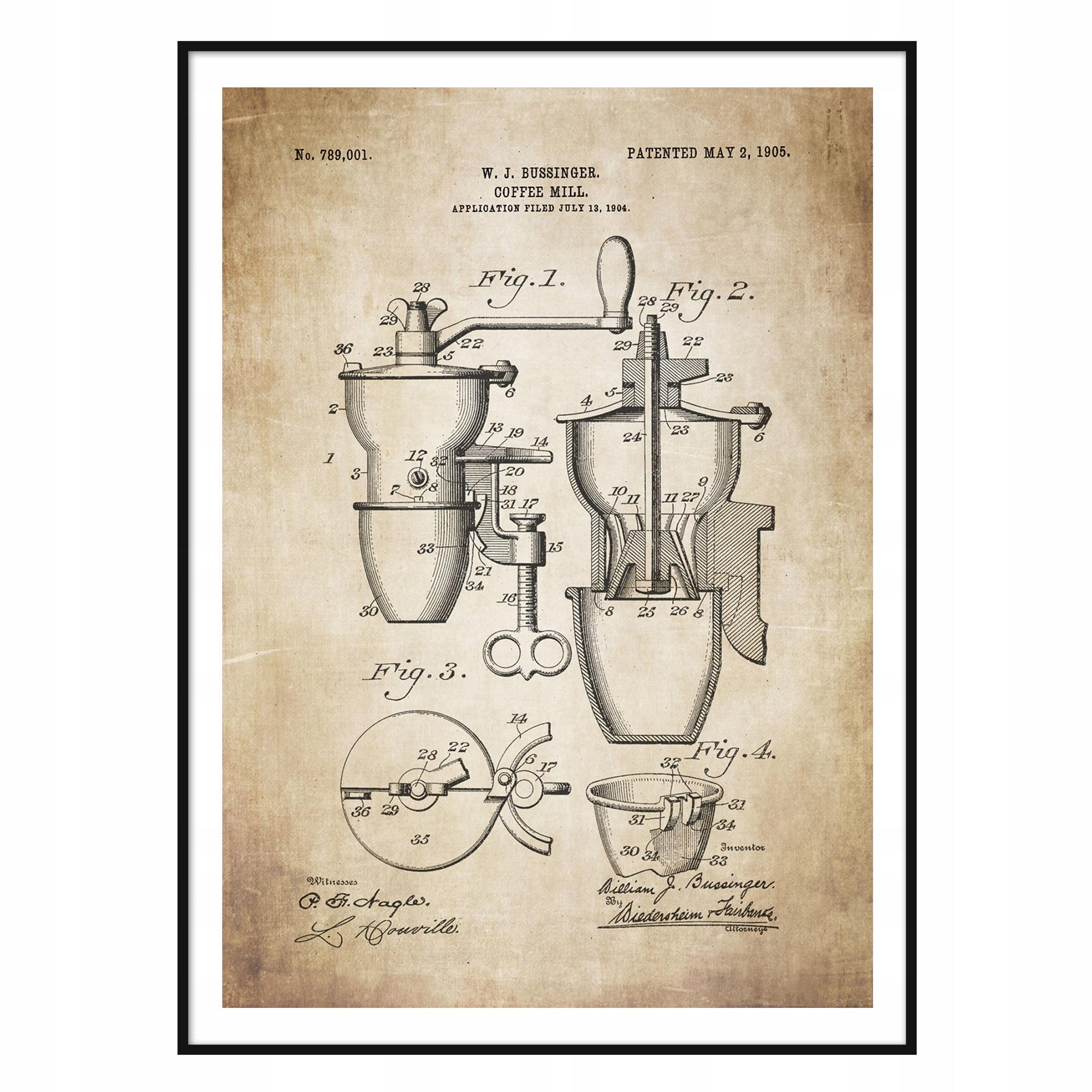 Plagát na mlynček na kávu Retro Patent Kitchen Cafe