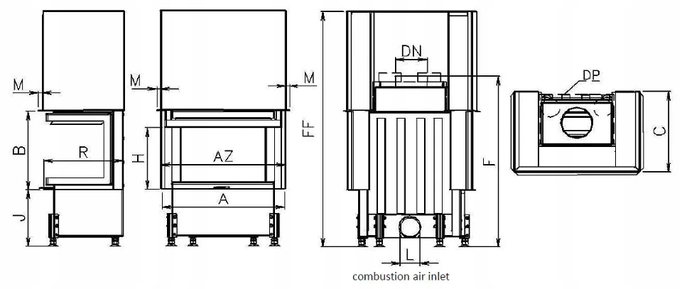 EKO VD 695/450/2×450 trzy szyby – Kobok wkład stal Waga produktu z opakowaniem jednostkowym 4 kg