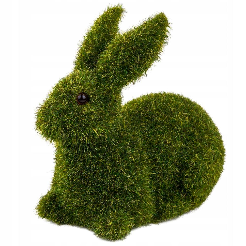 Zając Wielkanocny Flokowany Zielony Leżący Królik