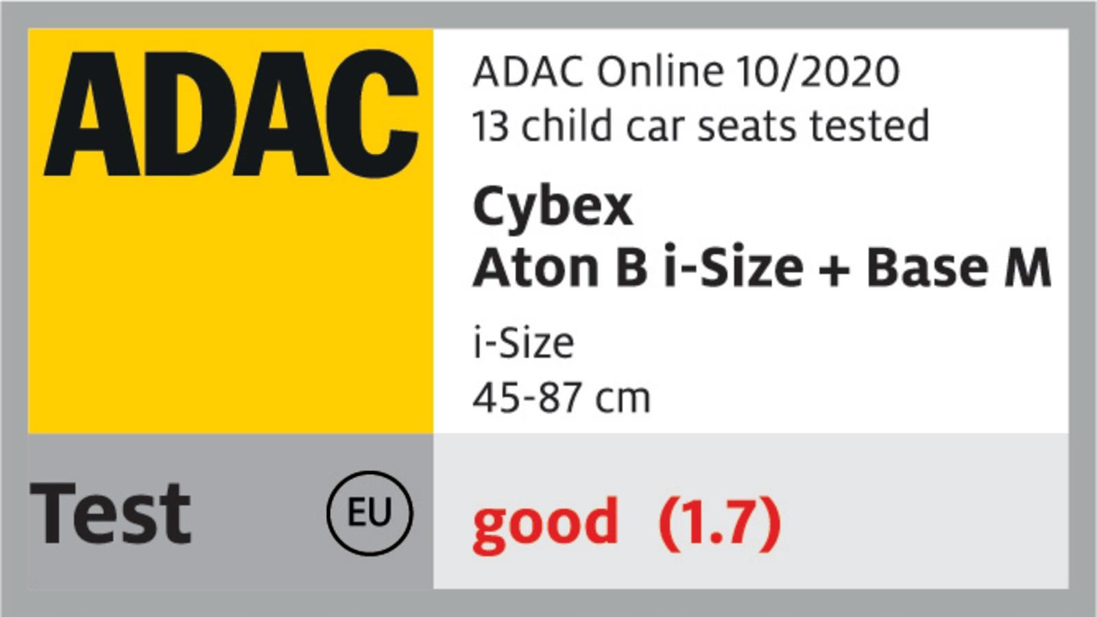 CYBEX ATON B I-SIZE FOTELIK LEKKI 4*ADAC Klasyfikacja ADAC 5