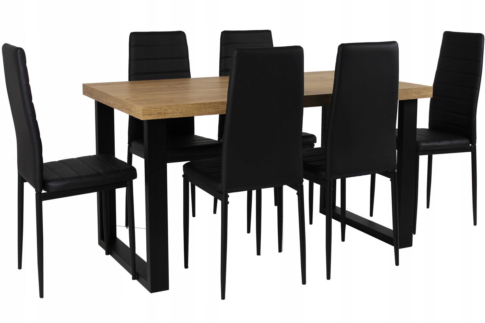 SOLIDNY STÓŁ na metalowych nogach 240 i 6 krzeseł