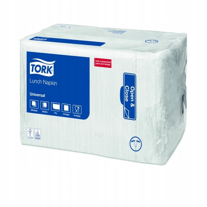Tork 509300 - Serwetki, białe, 1-warstwowe, x500