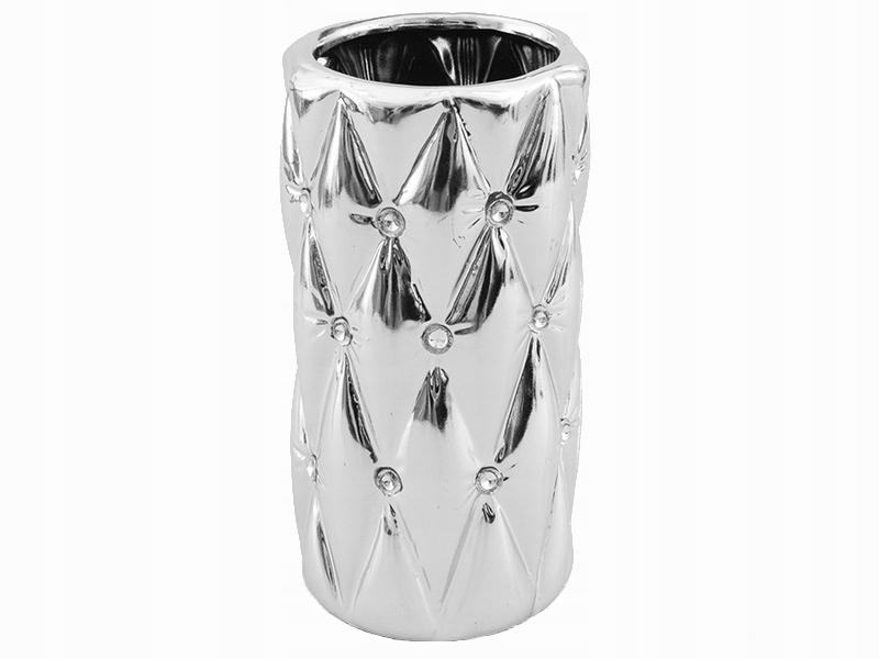 Wazon ceramika glamour kryształki cyrkonie srebrny