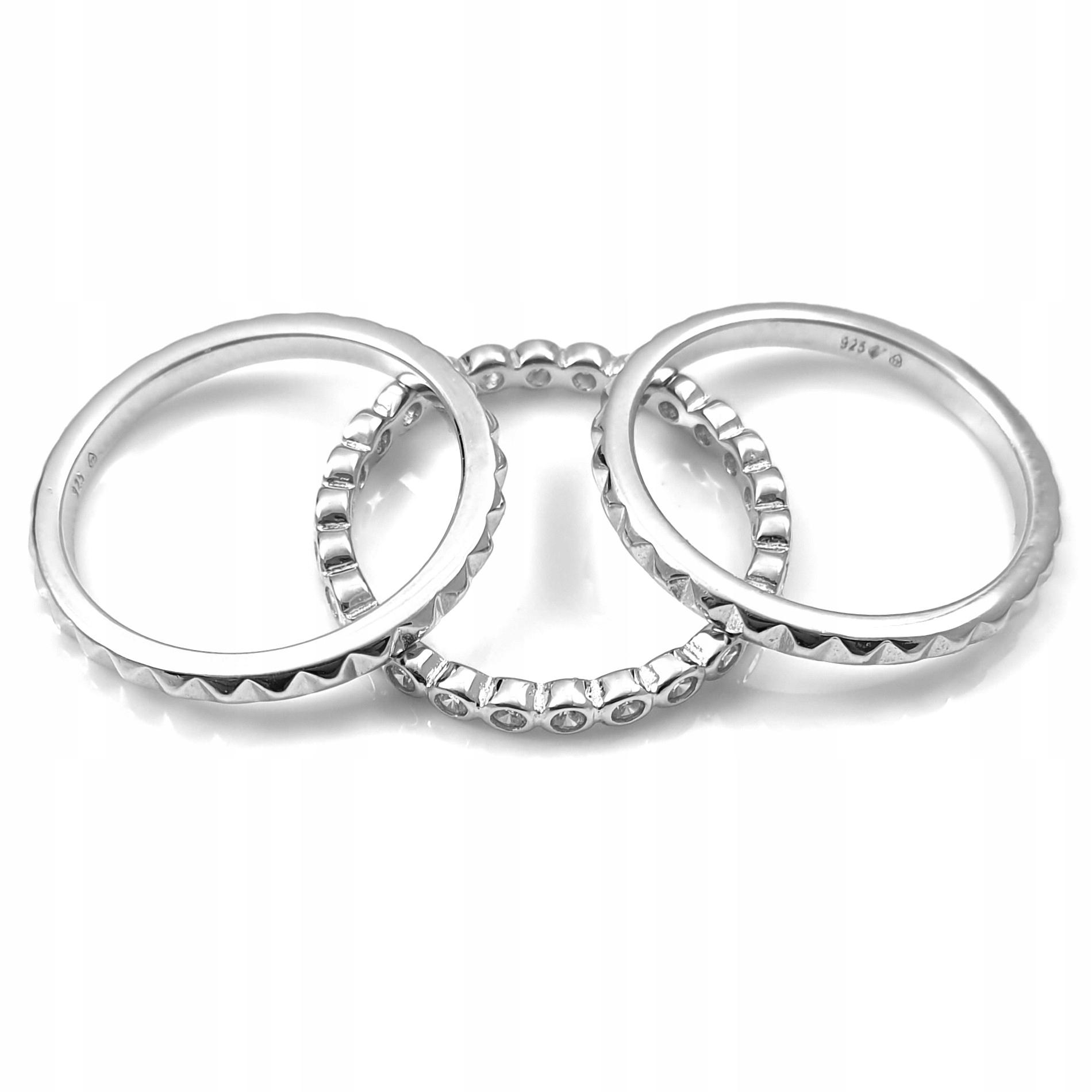 Triple snubný prsteň rodowana s cyrkoniami 14