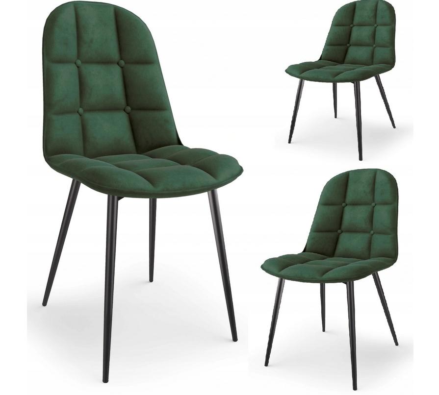 Krzesło Tapicerowane Pikowane Zieleń Welur Trevi2 Liczba krzeseł w zestawie 1