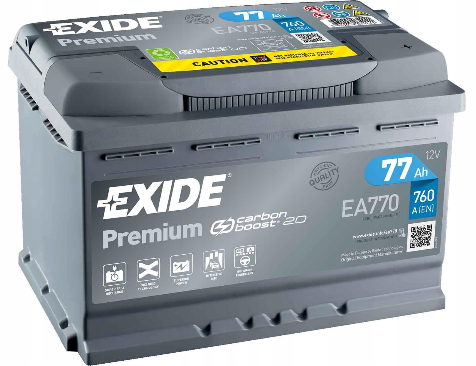 аккумулятор exide премиум 77ah 760a новый модель 20