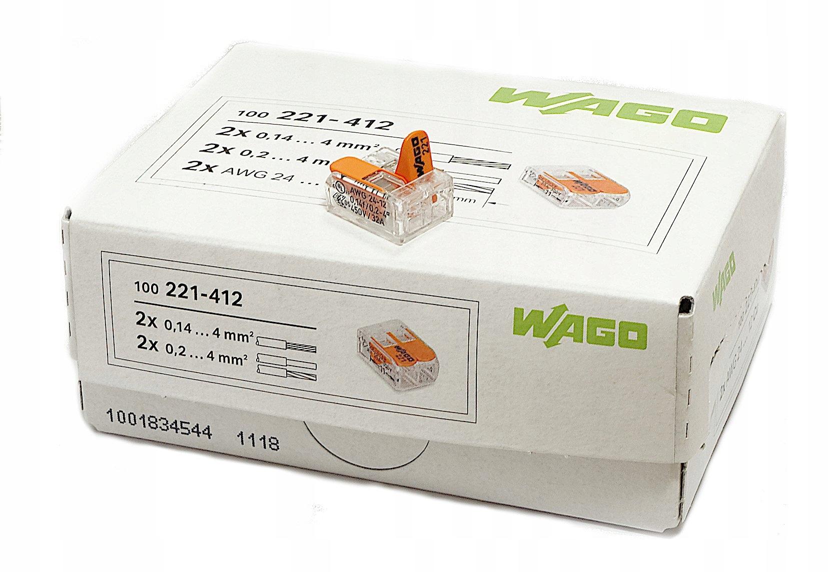 разъем клеммник 221-412 Wago 2x0,2 -4мм 100 штук