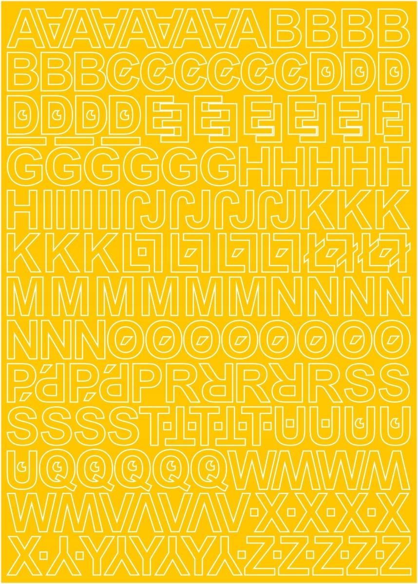 Клейкие буквы, 1,5 см, желтые, лист 225 знаков