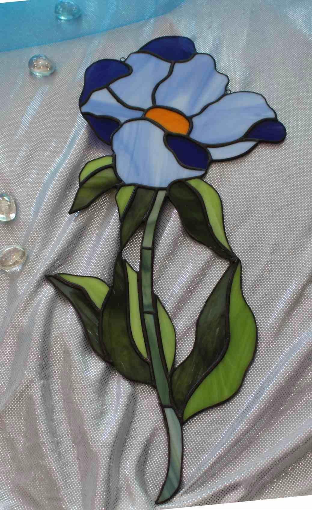 Тиффани синий витраж цветок 2