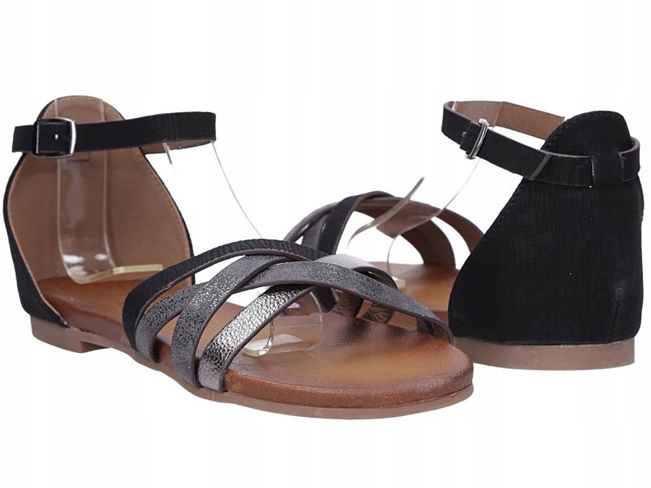 Sandały Zakryta Pięta Płaskie Klasyczne Buty Lato