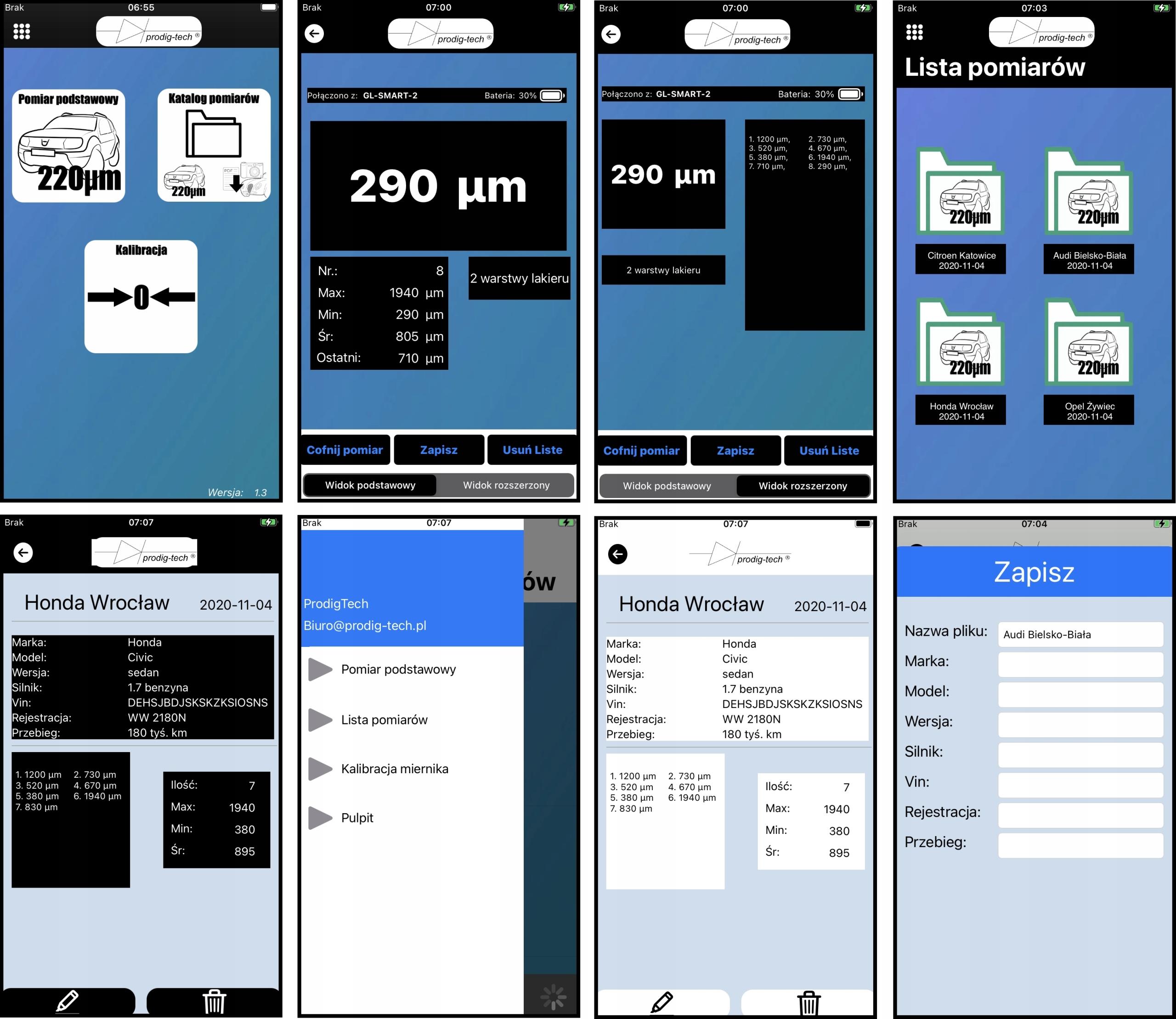 Miernik, tester grubości lakieru GL-SMART-S Informacje dodatkowe automatyczne wyłączanie podświetlany wyświetlacz współpraca z urządzeniem mobilnym załączony pokrowiec