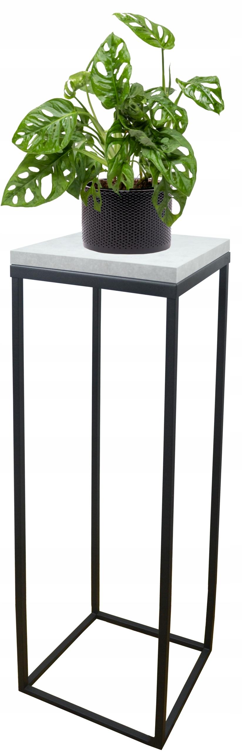 Клумба металлическая loft черная столешница Concrete Light 70см