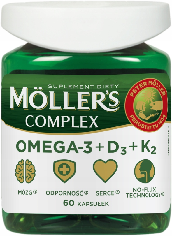 MOLLER'S COMPLEX KWASY OMEGA-3 WITAMINA D3 K2 x 60
