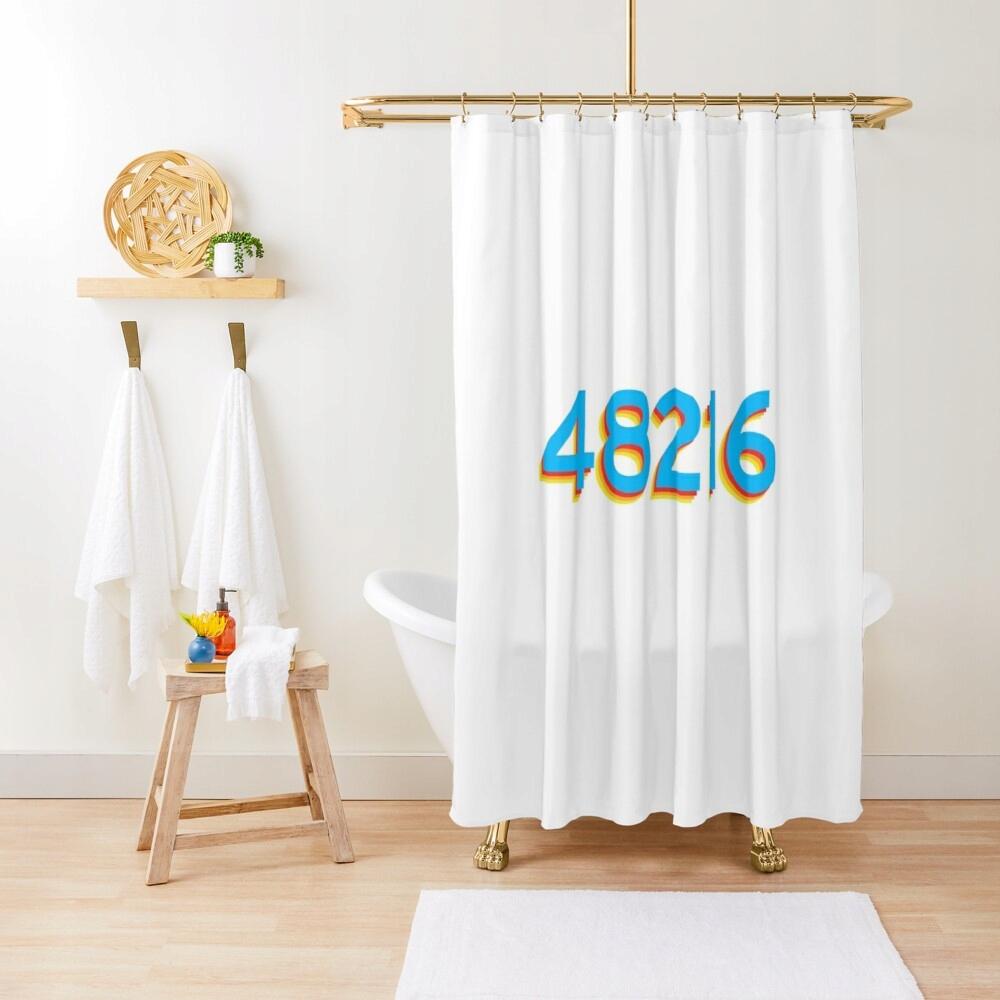 48216 Detroit Retro farebný dizajnový sprchový záves