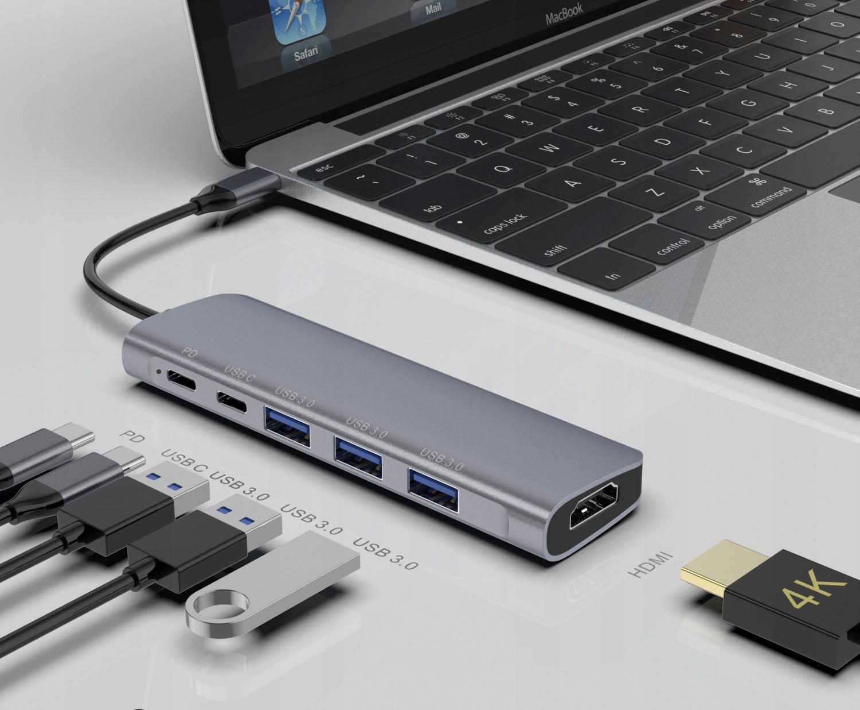 ADAPTER HUB 6W1 USB-C PD 100W 3x USB 3.0 HDMI 4K Kod producenta TC9038