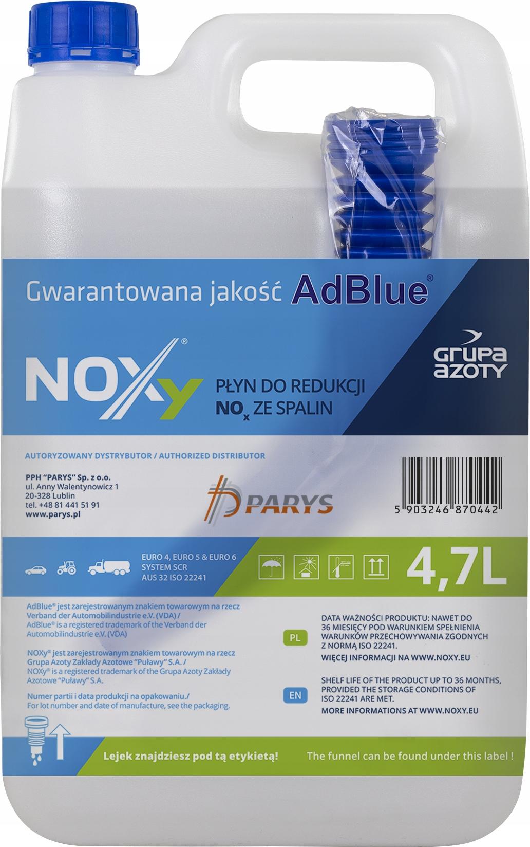 NOXy AD BLUE ADBLUE PŁYN KATALITYCZNY DPF - 4.7L