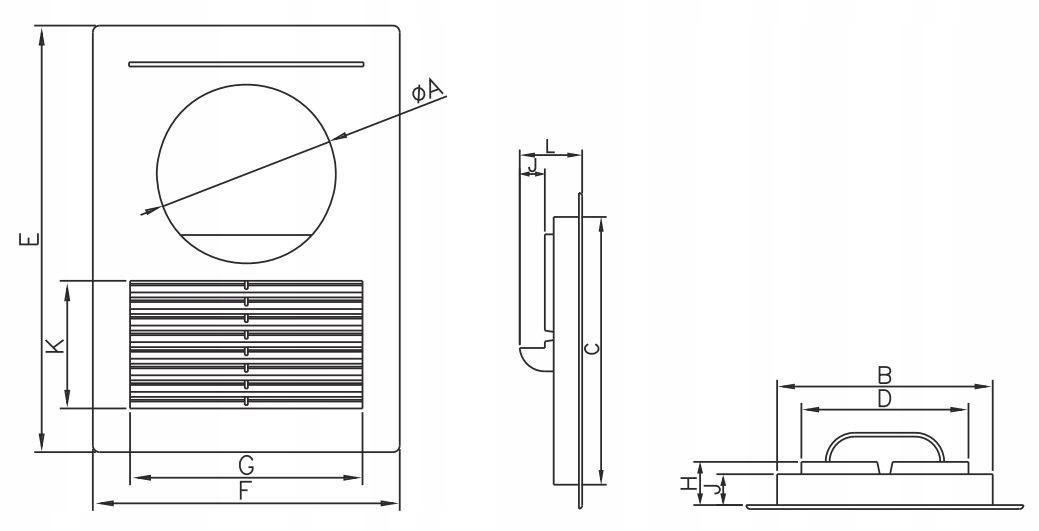 Kratka wentylacyjna z otworem na okap fi 125 D/14 Kolor biały