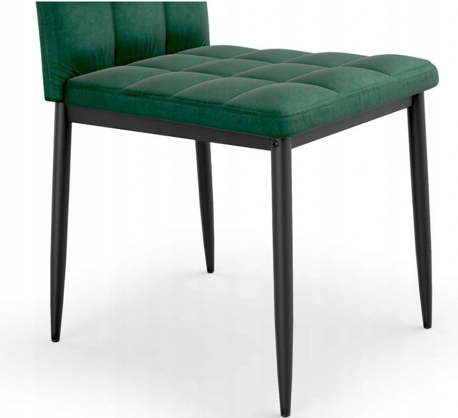 Krzesło Tapicerowane Pikowane Ciemny Zielony Welur Marka Luxury4Home