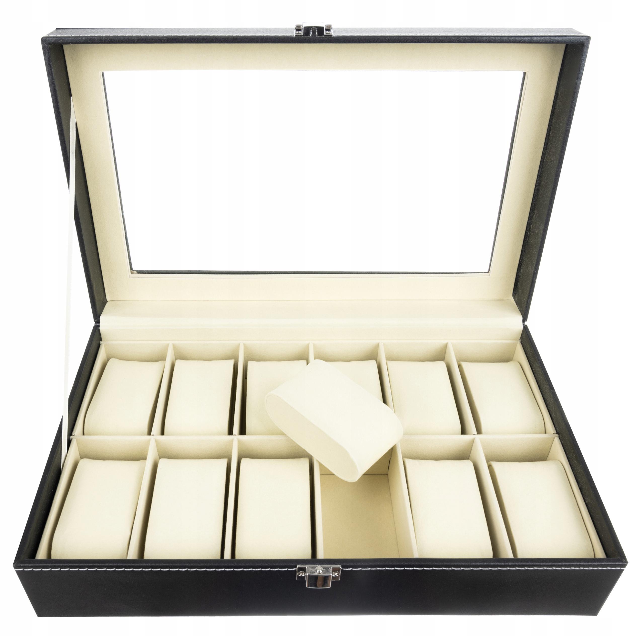 Pudełko Etui Organizer Szkatułka na Zegarki 12szt Liczba miejsc na zegarki 12