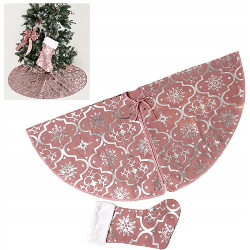 Ružová vianočná sukňa na vianočný stromček + 1 ponožky