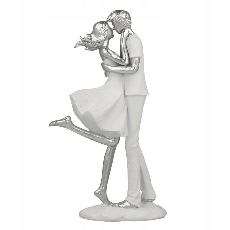 Figurka PARA ZAKOCHANYCH biało srebrna 25 cm