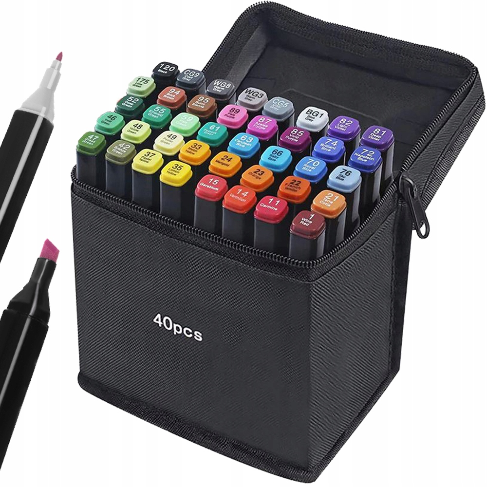 Markery Kolorowe Zakreślacze Pisaki Dwustronne x40