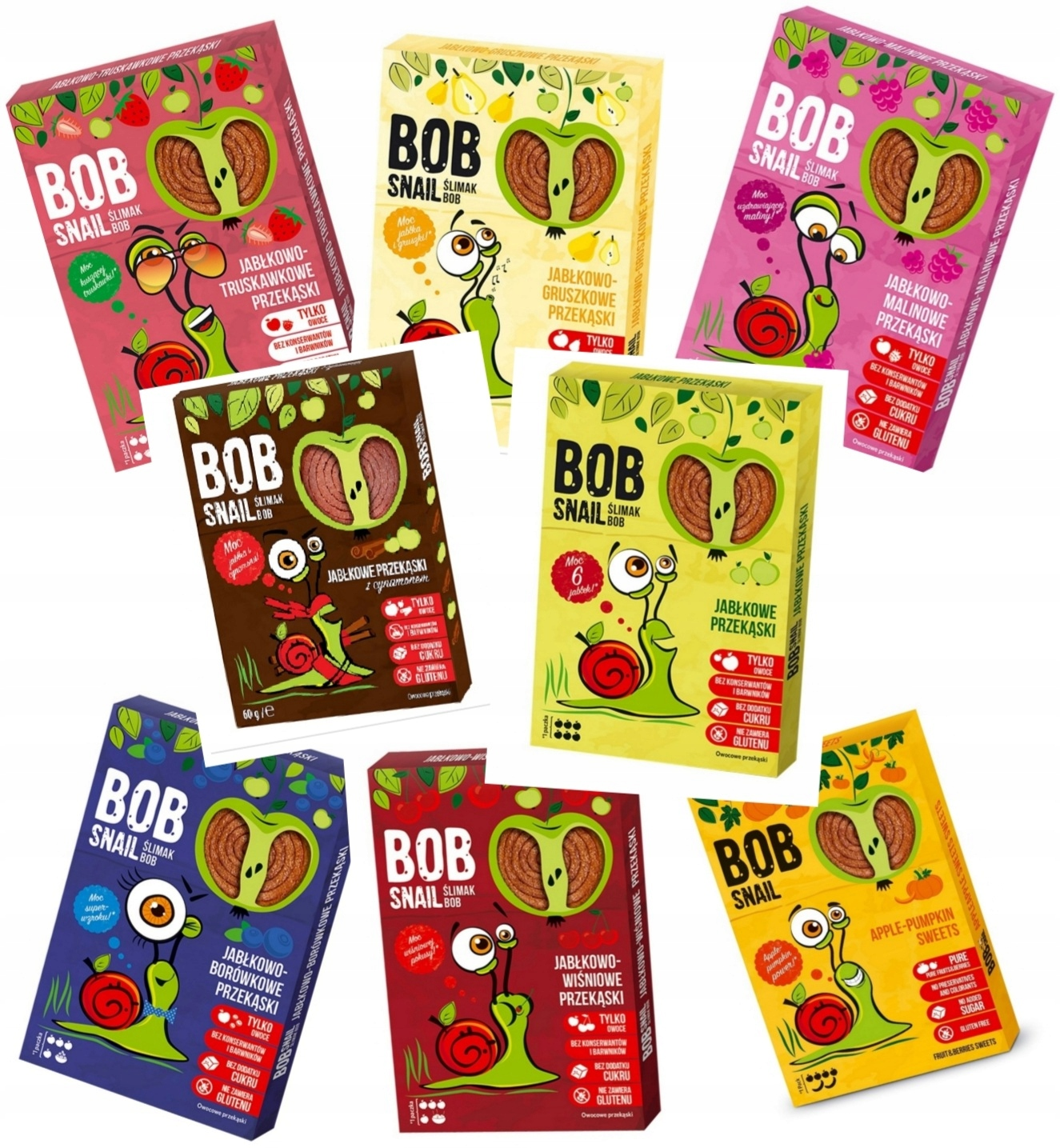 BOB Snail SNAIL Fruit Snack MIX 8 PCS - 60гр.