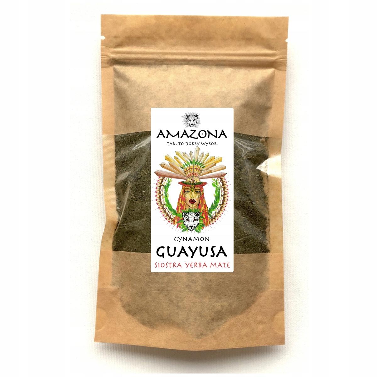 GUAYUSA CYNAMON 250g Siostra Yerba Mate AMAZONA Cechy dodatkowe niesiarkowane niski indeks glikemiczny niskotłuszczowe odpowiednie dla diety ketogenicznej raw (surowe) superfood wegańskie wegetariańskie