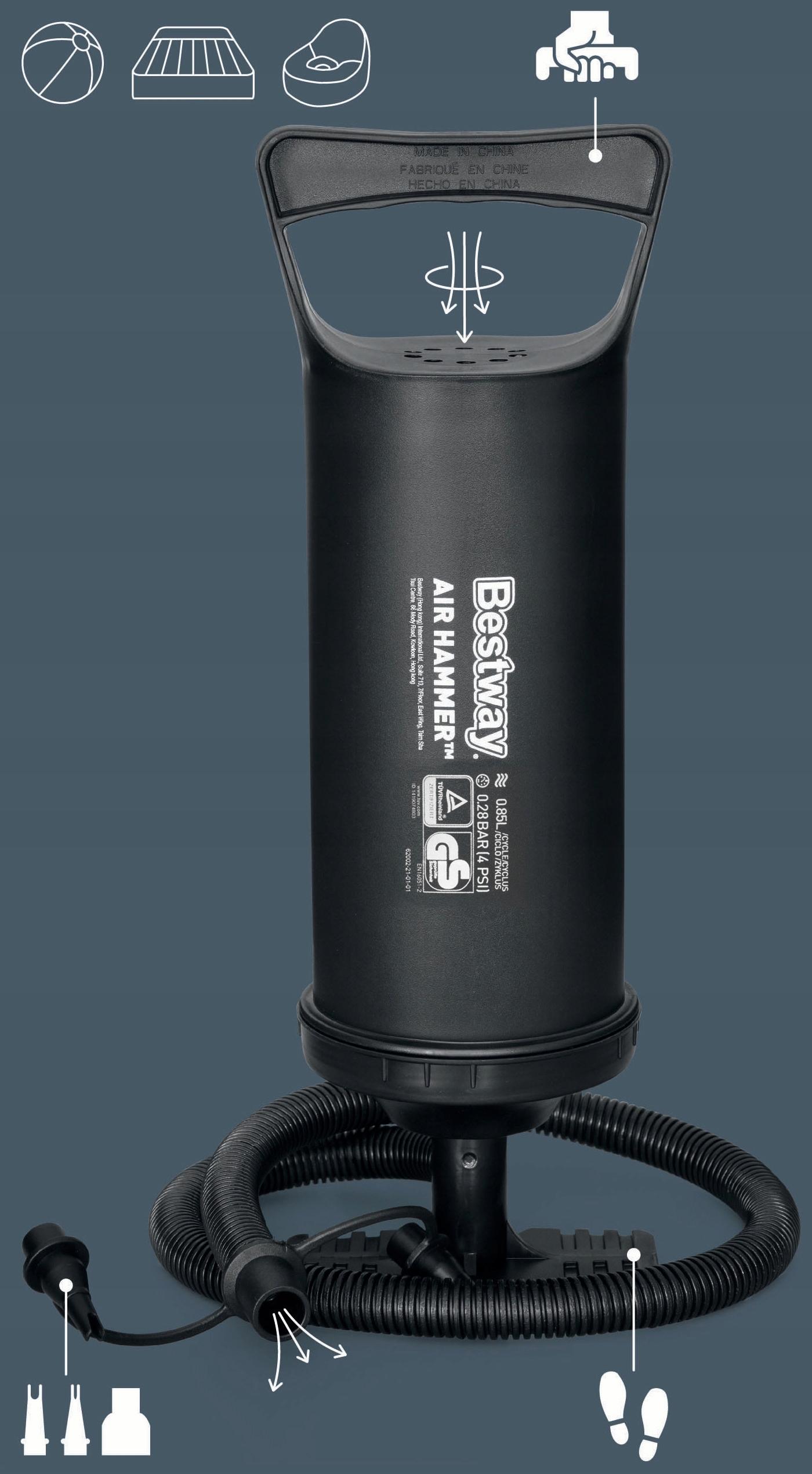 Ręczna POMPKA TŁOKOWA 30CM, BESTWAY 62002, DUŻA Kod producenta 62002