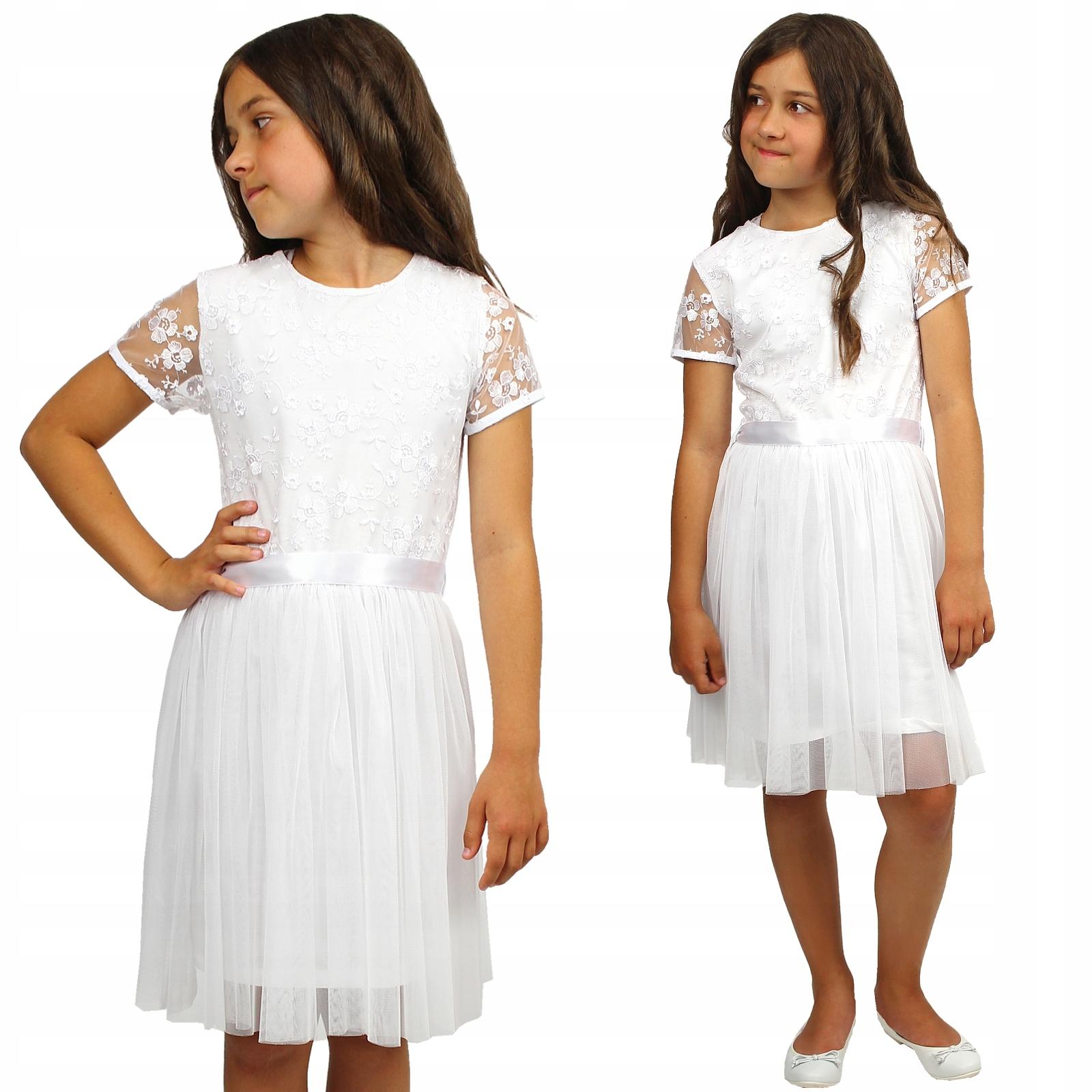 ELEGANCKA Sukienka TIULOWA Komunia BIAŁA 140