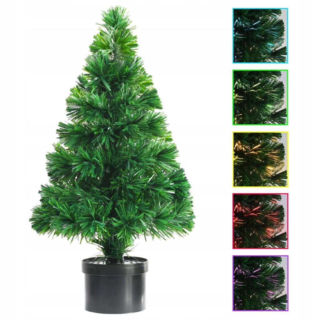 Umelý vianočný stromček so svetlami z optických vlákien, 64 cm