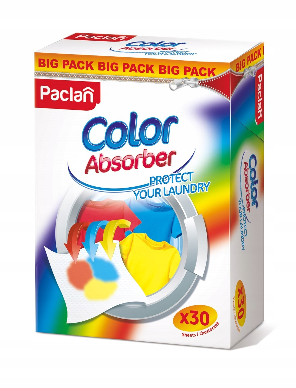 Chusteczki Wyłąpujące kolory 30szt Mega Pack