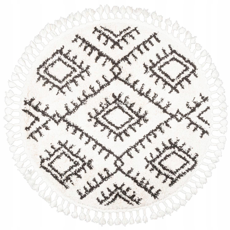 Круглый мохнатый берберский ковер с бахромой с узором 120