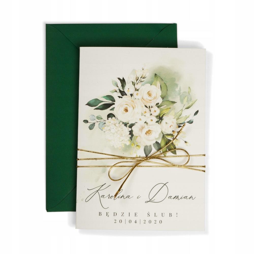 PRÓBNE Klasyczne zaproszenia ślubne zielone