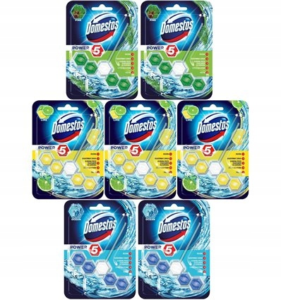 Domestos Kostka do WC Power-5 Mix Zestaw (7x55g)