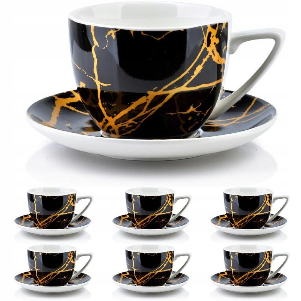 Чашки из черного золота, набор из 6 шт. 250 мл гламур
