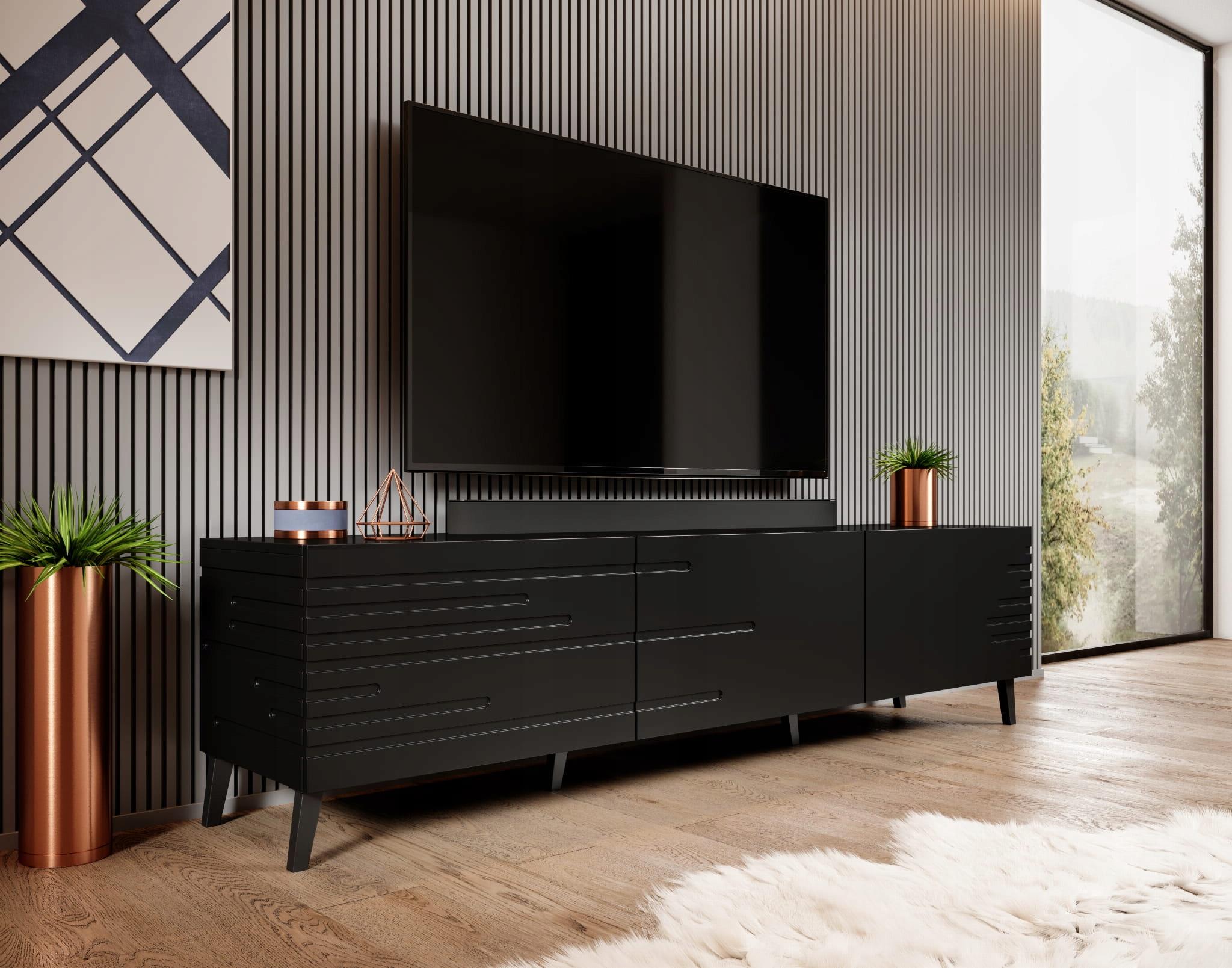 Черная подставка под телевизор на ножках - НОРМА - 186 см